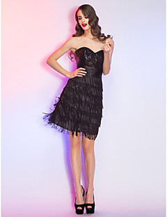 Cocktail Party / Homecoming / Holiday Dress - Black Plus Sizes / Petite A-line Sweetheart Short/Mini Lace / Sequined