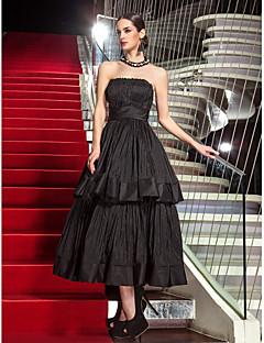 Aライン ストラップレス セミロング丈 タフタ フォーマルイブニング ダンスパーティー ドレス とともに ドレープ 〜によって TS Couture®