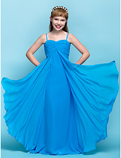 Floor-length Chiffon Junior Bridesmaid Dress - Ocean Blue Sheath/Column Spaghetti Straps