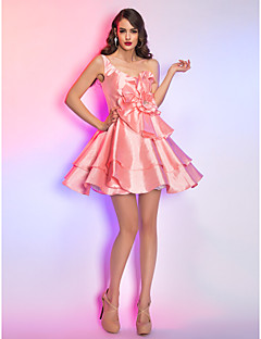 Homecoming Cocktail Party/Homecoming/Holiday Dress - Pearl Pink Misses/Pear/Inverted Triangle/Hourglass/Apple/Petite A-line One Shoulder Short/Mini