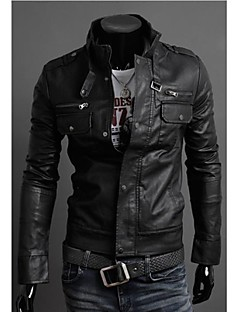The Men's Zipper Collar Motorcycle Leather Men's Jacket
