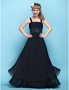 Lanting Bride® Floor-length Chiffon Junior Bridesmaid Dress A-line Straps Empire with Appliques / Beading / Ruching / Criss Cross