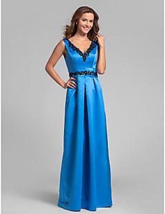 andar de comprimento Lanting vestido de cetim da dama de honra - oceano azul mais tamanhos / bainha petite / coluna v-pescoço