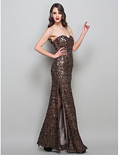 Formal Evening/Military Ball Dress - Brown Sheath/Column Strapless Floor-length Stretch Satin/Sequined