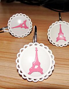 Douchegordijn Haken, Moderne stijl Eiffeltoren Pattern Metal (12 pack)
