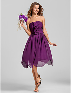 Cocktail Party / Homecoming / Wedding Party Dress A-line Strapless Tea-length Chiffon with Ruching / Cascading Ruffles