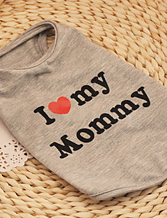 Cat / Dog Shirt / T-Shirt Gray Dog Clothes Summer / Spring/Fall Hearts / Letter & Number Fashion