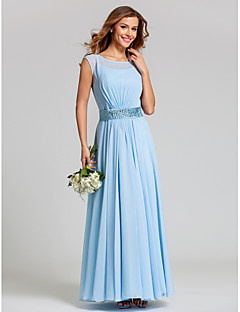 Ankle-length Chiffon/Stretch Satin Bridesmaid Dress - Sky Blue Plus Sizes A-line Scoop