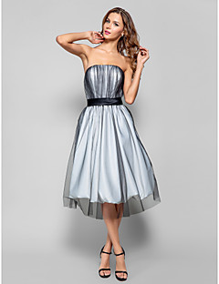 Homecoming Cocktail Party/Holiday/Homecoming Dress - Silver Plus Sizes A-line Strapless Knee-length Tulle