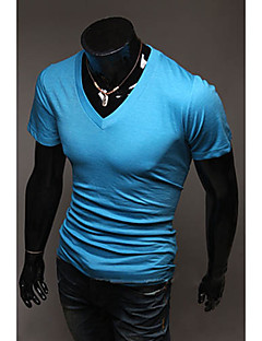 Men's Solid Casual T-Shirt,Cotton Blend Short Sleeve-Black / Blue / Brown / Green / Pink / Red / White / Yellow / Gray