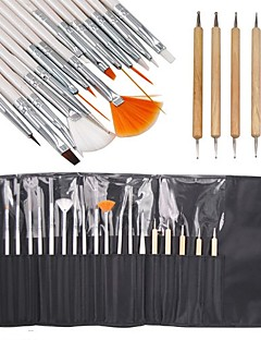 15stk pensel og 5PCS Bicephalous punktere Tools Nail Art Set Delikat Pakket