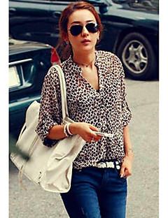 Kvinnors Leopard Stand Collar Chiffong skjorta