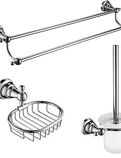 3 stuks badkamer accessoire sets, zinklegering, roestvrij staal, messing materiaal chroom afwerking, bad accessoires