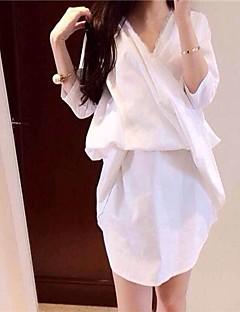 De las mujeres con cuello en V de encaje Costura camisa floja