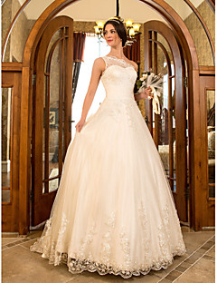 LAN TING BRIDE A-line Princess Wedding Dress - Classic & Timeless Elegant & Luxurious Glamorous & Dramatic Floral Lace Sweep / Brush Train