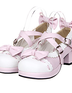 Pink And White Bowknot Sweet Lolita PU Leather 4.5cm High-heeled Shoes