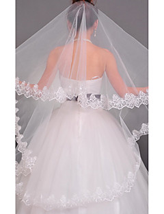 En Tier Chapel Wedding Veil Med Applique Edge