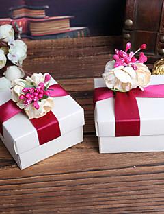 כיכר לבנה טובה קופסות עם הפרח אדום למעלה - סט של 12