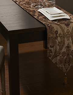 europeisk stil gylne poly-silke chenille jacqard polyester / bomull løpere