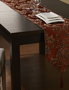 Concise Gold Embroidery Floral Red Polyester Table Runner