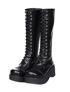 Black Lace-up Platform Classic Lolita PU Leather 7cm Høyhælte Boots