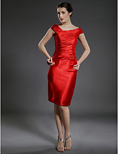 Sheath/Column Plus Sizes Mother of the Bride Dress - Ruby Knee-length Sleeveless Stretch Satin