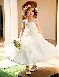A-line / Princess Knee-length Flower Girl Dress - Organza Sleeveless Spaghetti Straps with Appliques / Beading / Draping / Ruching
