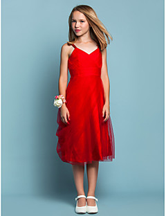 Lanting Bride® Knee-length Tulle Junior Bridesmaid Dress Sheath / Column Spaghetti Straps Empire with Side Draping / Criss Cross / Ruching