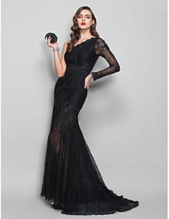 シース/コラムワンショルダースイープ/ブラシトレインレースアップリケ付きフォーマルイブニングドレス