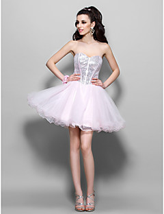 Homecoming Cocktail Party/Prom/Homecoming/Holiday Dress - Blushing Pink Plus Sizes A-line/Princess Sweetheart Short/Mini Tulle/Sequined