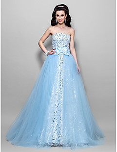 Ball Gown Strapless Floor-length Tulle And Sequined Evening/Prom Dress