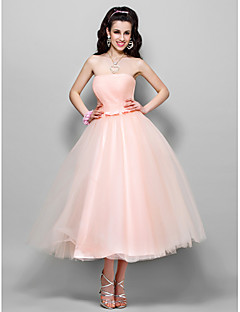 TS Couture Cocktail Party Homecoming Prom Wedding Party Dress - 1950s A-line Princess Strapless Tea-length Tulle with Bow(s) Ruching