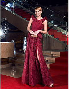 Formal Evening/Prom/Military Ball Dress - Burgundy Sheath/Column Jewel Floor-length Lace