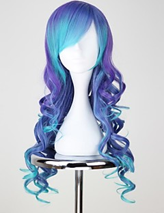 VOCALOID3 LUKA lang krullend Blauw & paars Anime Cosplay Pruik