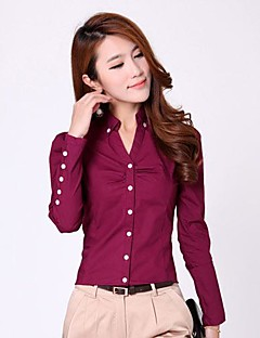 Women's Formal / Plus Size Simple Spring / Summer Shirt,Solid Shirt Collar Long Sleeve Red / White Cotton