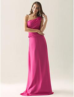Lanting Bride® Floor-length Chiffon / Satin Bridesmaid Dress Sheath / Column One Shoulder Plus Size / Petite with Side Draping