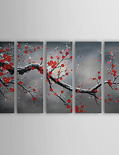 Oil Paintings Winter Plum Hand-Painted Canvas Art Set of 5 Ready to Hang