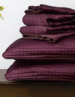 huani® quilt sæt, 3 stk plaid aubergine polyester