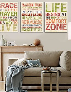 Stretched Canvas Art Words & Quotes Set di 3