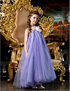 lanting bruid ® a-lijn / prinses vloer lengte bloem meisje jurk - tule mouwloze bandjes met kralen / bloem (s)