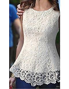 BZ Women's Fashion Sweet Elegant Lace Short Sleeve Vest Dress(White)