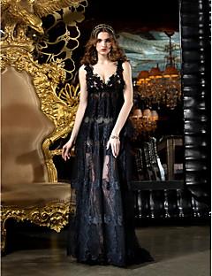 TS 패션 파티 / 공식적인 저녁 드레스 - 블랙 플러스는 칼집 / 칼럼 V 넥 청소 / 브러쉬 기차 레이스 크기