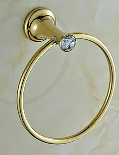 Contemporary Golden Crystal Brass Towel Ring