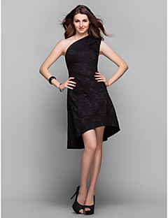 TS Couture® Cocktail Party / Holiday / Prom Dress - Black Plus Sizes / Petite A-line One Shoulder Asymmetrical Satin