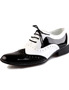 MasculinoConforto sapatos Bullock-Rasteiro-Preto Branco-Couro-Festas & Noite