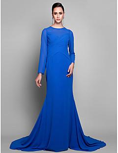 Fiesta formal Vestido - Azul Real Corte Sirena Cola Corte - Escote Joya Georgette Tallas grandes