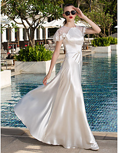 A-line Plus Sizes Wedding Dress - Ivory Floor-length Scoop Lace/Stretch Satin
