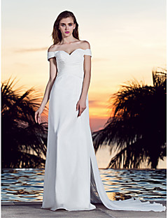 Lanting A-line Plus Sizes Wedding Dress - Ivory Court Train Off-the-shoulder Georgette