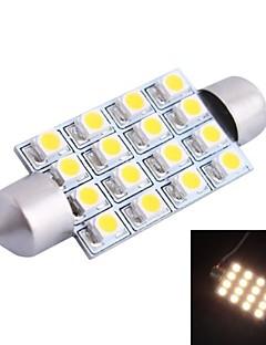 42mm 4W 200LM 3000K 16x3528 SMD LED blanco cálido para el coche de lectura / matrícula / lámpara de la puerta (DC12V, 1pcs)