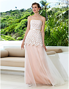 A-line Plus Sizes Wedding Dress - Pearl Pink (color may vary by monitor) Sweep/Brush Train Strapless Tulle/Lace